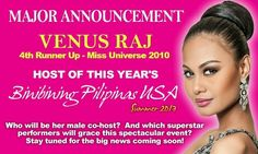 Who will be Venus Raj's partner for Binibining Pilipinas USA Inaugural #BeautyPageant 2013? Stay tuned and visit www.insiderproductions.net