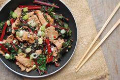 Looks like a good use of chard stems, too:  How to Cook Everything: The Basics: Pork Stir-Fry with Greens - Mark Bittman