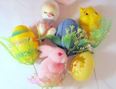 SALE Vintage Plastic Bunny Chick Duck Egg Picks Set by teresatudor, $14.99