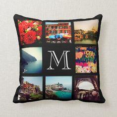 Custom Monogram Instagram Photo Collage Throw Pillow Monogram Pillows, Monogram Fonts, Custom Pillows, Decorative Throw Pillows, Photo Collage Gift, Photo Collage Template, Photo Pillows, Best Pillow, Sticker Shop