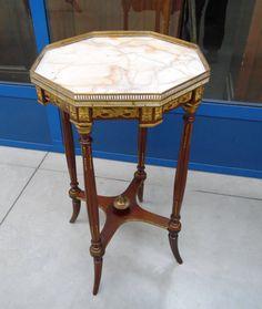 Tavolino '800 ottagonale Napoleone III con bronzi e ottoni+++ piano marmo riparato d'epoca
