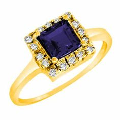 DivaDiamonds 14K Gold Round Square Created Blue Sapphire and Diamond Ring DivaDiamonds. $442.50