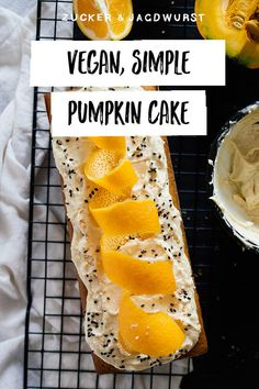 Vegan pumpkin cake with tahini orange frosting – Zucker&Jagdwurst Vegan Sweets, Sweets Recipes, Vegan Food, Cake Recipes, Vegan Recipes Easy, Vegetarian Recipes, Vegetable Recipes, Tahini, Orange Frosting