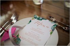 Tablescape | Watercolour Stationery | Menu | Colour Pop at The Nyla House | Photography by A Thing Like That {http://www.athinglikethatphotography.com/} | Styling by Lace in the Desert {http:/... #styled shoot #colourfulwedding #vibrant #modern