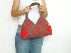 Crochet bag granny sguare Stripet crochet Bag fall by NzLbags, $80.00