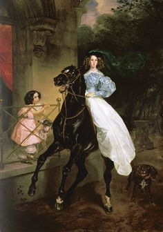 Brullov, Horsewoman, 1832---beautiful painting!  love the little girl's expression! Russian painter Karl Bryullov