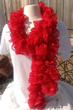 Lacy Spiral Scarf in Red by AdventureOfMyHeart on Etsy