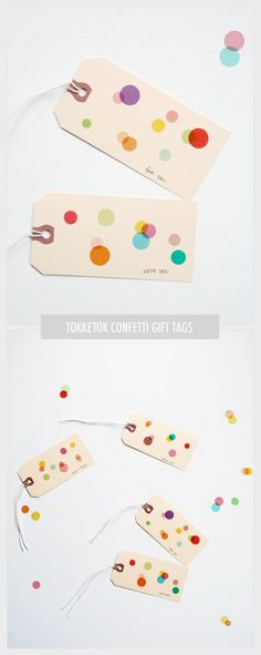 confetti tags, made with manilla tags and translucent dot stickers