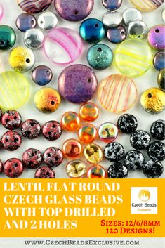 Lentil Flat Round Czech Glass Beads with Top Drilled and 2 Holes 120 designs in stock! Sizes: 12/6/8mm - Buy now with discount! Hurry up - sold out very fast! www.CzechBeadsExclusive.com/+lentil SAVE them! #czechbeadsexclusive #czechbeads