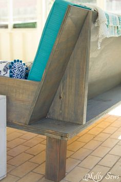 Back View - Make a DIY outdoor sofa from plywood - love the minimalist lines! - Melly Sews