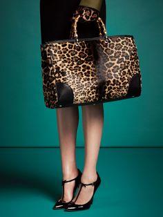 The FW 13-14 Gucci Bamboo Shopper Jaguar Print Tote
