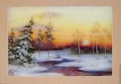 """Купить """"Зимняя сказка"""" Картина из шерсти - картина из шерсти, шерсть, интересный подарок, оригинальный подарок"""