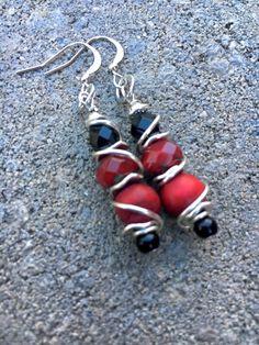 Black and Red Earrings Boho Earrings Unique by BeachBohoJewelry