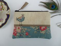 Handmade Shabby Chic Coin Purse Makeup bag, Cath Kidston Blue Bunch fabric, Hen £9.99