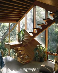 Lautner's Walstrom House, Los Angeles, 1969. Stairs in dining area.