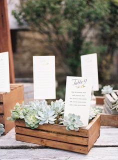 Rustic yet elegant name and table cards: http://www.stylemepretty.com/little-black-book-blog/2016/08/09/california-spring-wedding-overflowing-sweetness/ Photography: Ashley Kelemen - http://ashleykelemen.com/