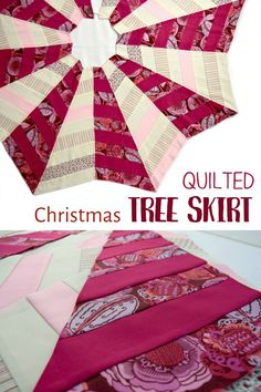 Quilted Christmas tree skirt made from an easy sewing pattern. An easy quilting project you will love! Christmas Sewing Patterns, Christmas Tree Skirts Patterns, Christmas Sewing Projects, Easy Sewing Patterns, Craft Projects, Diy Quilted Christmas Tree Skirt, Christmas Quilting, Christmas Ornament Crafts, Christmas Crafts
