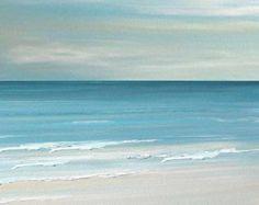 Beach seascape painting print - Blue, Coastal Ocean  fineart print by Francine Bradette-FREE S&H