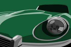 """Jaguar E-Type Pop Art"" by Michael Tompsett, Castellon // Jaguar E-type Classic Car in racing green, Pop Art . // Imagekind.com -- Buy stunning, museum-quality fine art prints, framed prints, and canvas prints directly from independent working artists and photographers."