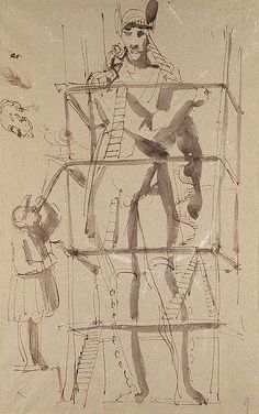 Carl August Ehrensvärd: Fantastic Drawing of a Sculptor at Work on a Colossal Statue, Man Blowing a Trumpet (1992.229.1) | Heilbrunn Timeline of Art History | The Metropolitan Museum of Art