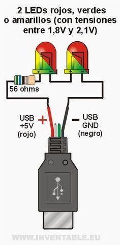 Conectar LEDs al USB | Inventable