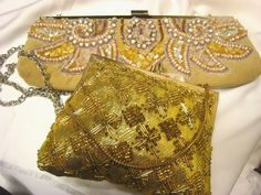 Lot of 2 beaded embroidered evening event bags handbag gold neutral nude   eBay