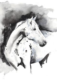 Pferd, Print, Pferd Kunst, Print of Painting Watercolor Pferd, Pferd Aquarell, Pferd Illustration, schwarz und weiß-Pferd