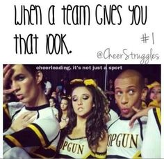 When a team gives you that look. Cheer Funny, Cheerleading Pictures, Cheer Quotes, Cheer Outfits, All Star Cheer, Cheer Dance, Cheer Bows, Have A Laugh, Gymnastics