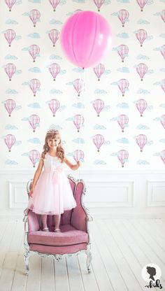 Rose papier peint chambre d'enfant de ballons / enfants chambre papier peint traditionnel ou amovible L033