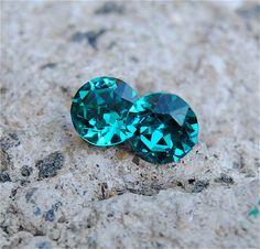 Swarovski Crystal Earrings - Super Sparkler Minnies - Vintage Teal Blue Studs