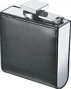 new Visol Wallet Black Synthetic Leather Stainless Steel Frame 6oz Flask