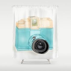 Retro Camera Shower Curtain by NiteOwl Designs - $68.00- @Society6 - @HomeArtyHome Home Arty Home