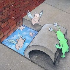 He works on the street in Ann Arbor Michigan. He should illustrate children's books as the man (David Zinn) is amazing. David Zinn is an artist from Michigan. He runs around all day in the st… 3d Street Art, Amazing Street Art, Street Art Graffiti, Street Artists, Graffiti Artists, David Zinn, Art Tumblr, Pavement Art, 3d Chalk Art