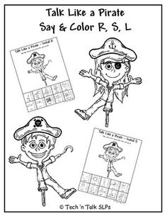 Just in time for Talk Like a Pirate Day, a color and say activity for R, S, L. Elicit and track 150 responses for each sound. A forever FREEBIE.