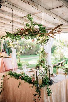 lush hanging wedding decor