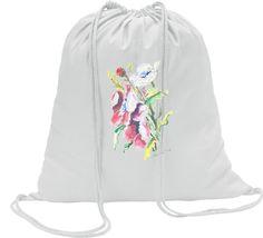 Worek bawełniany z akwarelą kwiaty polne. Szkoła, dzieci, pakowanie , podróż