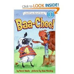"""Sam the lamb has a bad cold. But every time he thinks he is going to sneeze, he only gets as far as """"Baa ."""" No choo! Sarah Weeks′ rhyming tale and Jane Manning′s lively art make for a hilarious barnyard romp. The Book, Book 1, I Can Read Books, Childrens Ebooks, Felt Stories, Flannel Friday, Book Festival, Story Time, Hilarious"""