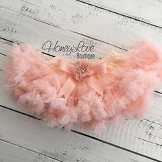 Peach Pettiskirt, embellished flower bow, petti skirt tutu, photo shoot special occasion dress, first birthday newborn infant baby toddler little girl by HoneyLove Boutique