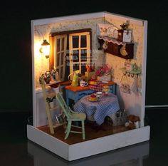 A corner of  LED Light dollhouse room miniatures  secret garden scene with cover
