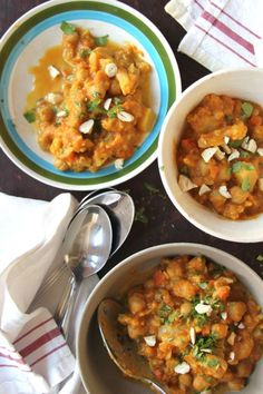 Pumpkin-Chickpea Curry by Saveur. With warming notes of curry and cinnamon, this hearty vegetable curry—a recipe that test kitchen director Kellie Evans used to make while catering film and television shows—is perfect for a chilly fall or winter evening. Chickpea Recipes, Veggie Recipes, Indian Food Recipes, Vegetarian Recipes, Cooking Recipes, Healthy Recipes, Vegetarian Curry, Indian Foods, Vegetarian Dinners