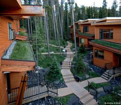 Cave Avenue Homes co-op in Banff, Alberta. Click image for source and visit the Slow Ottawa 'Share It' board for more co-housing ideas. Architecture Antique, Japanese Architecture, School Architecture, Sustainable Architecture, Co Housing Community, Wooden Facade, Urban Village, New Property, Beautiful Buildings
