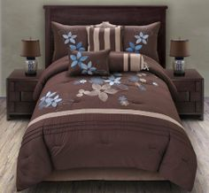 "7 Piece Queen Blair Embroidered Comforter Set Blue/Coffee by KingLinen. $69.99. This comforter showcases oversized leaf and floral motif on soft, warming coffee ground. The stripe and pleated accents further enhance the look. An eclectic set that will be great for any bedroom. 3 decorative pillows included.FeaturesSize: QueenColor: Blue/Coffee100% PolyesterMachine washableThis set includes:1  Comforter (86""x86"")2  Shams (20""x26"")1  Bedskirt(60""x80""+14"")3  D..."