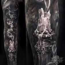 The smoking candle in the Extinguished Candle Tattoo Sleeve by Javier Antunez is like an extinguished life. Very sad tattoo idea. Smoke Tattoo, Real Tattoo, Dark Tattoo, Creepy Tattoos, Skull Tattoos, Body Art Tattoos, Tattoos For Women, Tattoos For Guys, Cute Ankle Tattoos