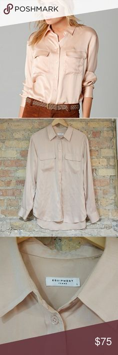 Equipment Signature Sand Washed Nude Satin Blouse Equipment Signature Sand Washed Satin Blouse in Nude.   Nude semi-sheer silk-satin, collar, long sleeves, buttoned cuffs, front flap pockets, curved hem. Button fastenings through front. 100% silk. Dry clean. Designer color: Nude Satin.  Great condition! Equipment Tops