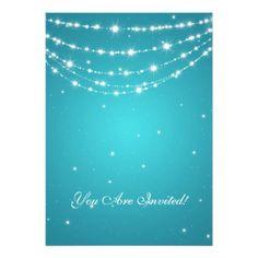 Elegant 60th Birthday Party Sparkling Chain Blue Invitations