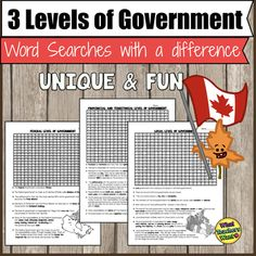 Canada's Government - The Three Levels of Canadian Government Word Searches Levels Of Government, Government Of Canada, Early Finishers Activities, Single Words, Student Reading, Social Studies, Word Search, High School, Teaching