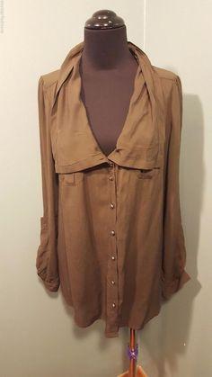 Odille Anthropologie Dark Olive Green Rayon Sheer Long/Short Sleeve Blouse 8  #OdilleAnthropologie #Blouse #CareerDress #daystarfashions $14