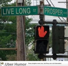 At the corner of Live Long and Prosper. ;)