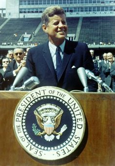 A rare photo of the president at Rice University stadium in Houston, Texas before making his famous 'We Choose To Go To The Moon' speech ~ Sept. 12th, 1962
