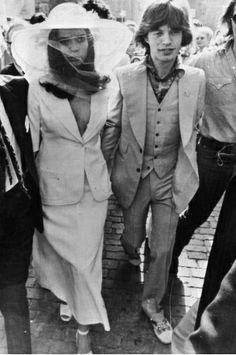 Bianca Jagger wears a YSL Le Smoking jacket to her 1971 wedding to Rolling Stones' singer Mick Jagger.